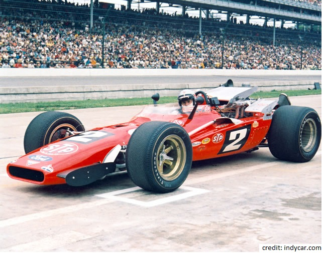 Mario Andretti, winner of the 1969 Indianapolis 500 in his methanol fueled race car.