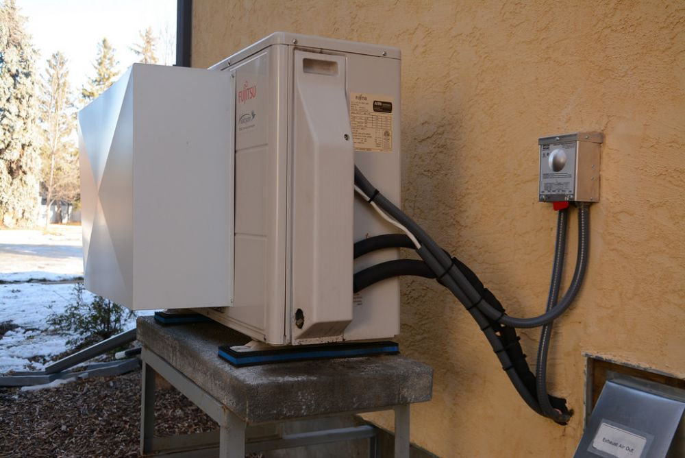 An electric heat pump at a home in Edmonton. Photo: Roberta Franchuk, Pembina Institute